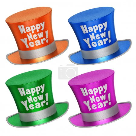 Foto de 3D rendered collection of colorful Happy New Year top hats with shiny metallic flakes style surface - isolated on white background - Imagen libre de derechos