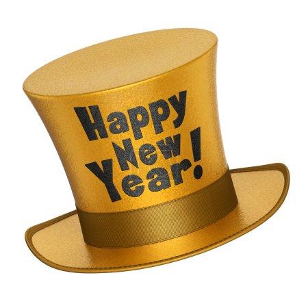 Foto de 3d render de un sombrero de copa dorado Feliz Año Nuevo con superficie de estilo escamas metálicas brillantes - aislado sobre fondo blanco - Imagen libre de derechos