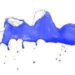 Isolated shot of blue paint splash on white backgr...