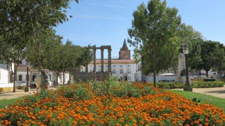 roman temple in square, evora, portugal