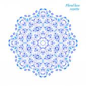 Circular lacy pattern of blue flowers