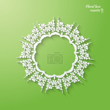 Illustration for Circular openwork element - snowflake, flower, folk paper style. vectr illustration on a green background. - Royalty Free Image
