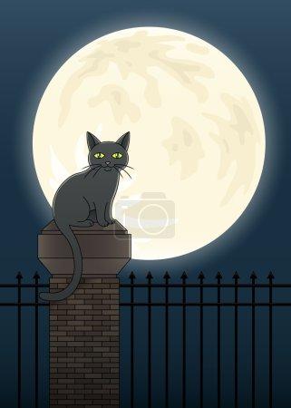 Illustration pour Illustration d'un chat noir perché au sommet d'une clôture silhouettée contre une pleine lune . - image libre de droit