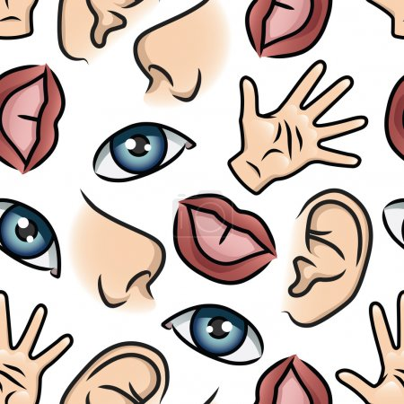 Illustration for Pattern depicting illustrations of the five senses. Seamlessly Repeatable. - Royalty Free Image