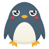 Illustration of a cute cartoon penguin with an unimpressed expression