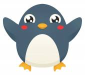 Illustration of a cute cartoon penguin with its flippers raised up in celebration