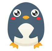 Illustration of a cute cartoon penguin with a neutral expression patting its belly