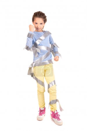 Young girl with duct tape
