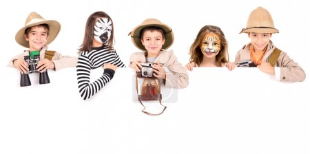 Tiger, zebra and explorers on white