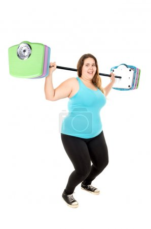 large girl lifting weights