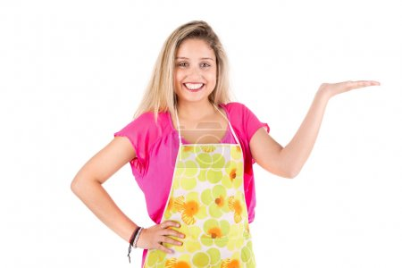 Photo for Beautiful woman with apron isolated in white - Royalty Free Image