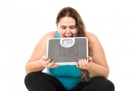 fat woman dieting concept