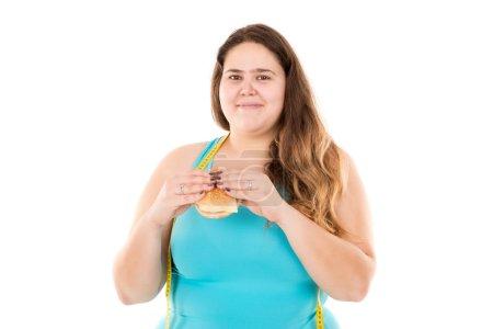 Diet for fat woman concept
