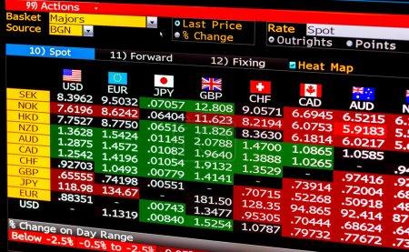 Photo pour Tableau de données économiques complexes avec des valeurs croisées et des prix pour le marché des changes, devises du monde identifiées par des drapeaux, numéros avec des étiquettes rouges et vertes, application financière professionnelle sur ordinateur - image libre de droit