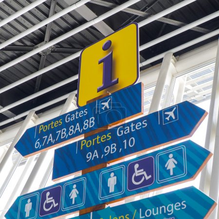 Airport informations signs for passengers
