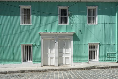 Typical facade covered in zinc  in Valparaiso
