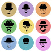 A set of round flat icons Silhouette of a man wearing a hat with glasses with a beard and mustache  Vector illustration