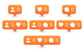 Like follow comment icons in flat style Orange notification tooltip with heart user speech bubble counter and shadow on white background Set 01 Vector illustration web design element 8 eps
