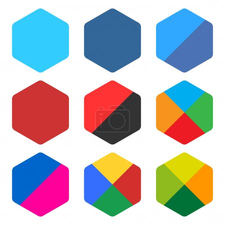 9 blank rounded hexagon icon set