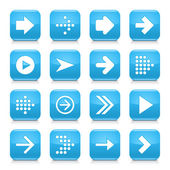 16 arrow icons set 01 White sign on blue rounded square button with gray reflection black shadow on white background Glossy style Vector illustration web design element save in 8 eps