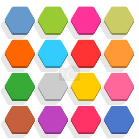 16 blank icon set hexagon web button on white background