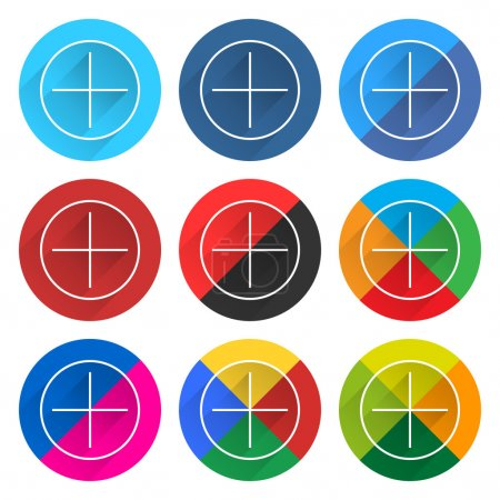 9 popular social network icon set with plus sign in circle