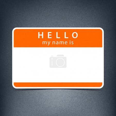 Orange name tag blank