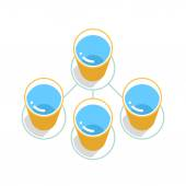 ALS Ice Bucket Challenge concept in flat style Yellow bucket with blue water on green circle icon with long shadow on white background Vector illustration graphic design element save in 8 eps