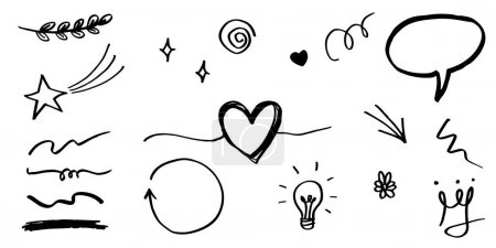 Illustration pour Ensemble dessiné à la main de swishes bouclés, swashes, swoops. Flèches abstraites, flèche, coeur, amour, étoile, feuille, soleil, lumière, couronne, roi, reine, sur le style doodle pour la conception de concept. illustration vectorielle. - image libre de droit