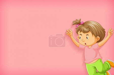 Illustration for Plain background with little girl jumping illustration - Royalty Free Image