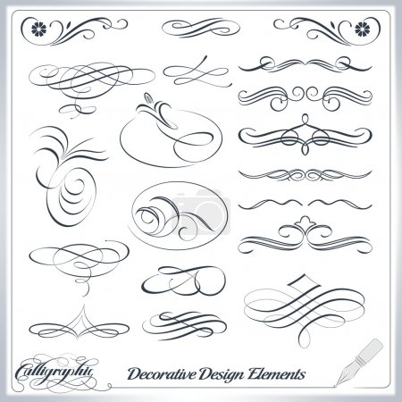Illustration for Calligraphic decorative elements in vector format. Ideal for creative layout, greeting cards, invitations, books, brochures, stencil and many more uses. - Royalty Free Image