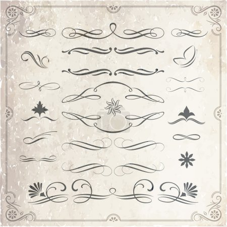 Illustration for Calligraphic decorative elements in vector format. Ideal for creative layout, greeting cards, invitations, books, brochures, patterns and many more uses. - Royalty Free Image