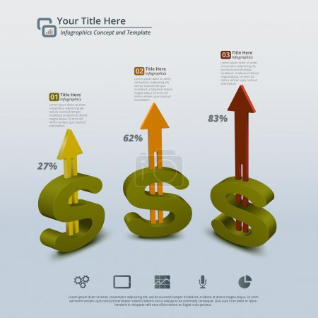 Money Growing 3D Abstract Infographic Background