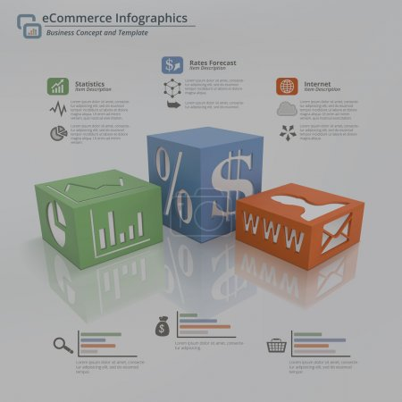 Illustration pour 3D Infographie concept fond de trois cubes sur un plancher blanc avec des symboles sur le visage et les côtés. Inclure un espace réservé pour le titre et les descriptions. Cette illustration présente des statistiques, des progrès salariaux et des outils internet pour le commerce électronique - image libre de droit
