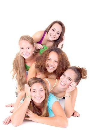 teenage friends posing