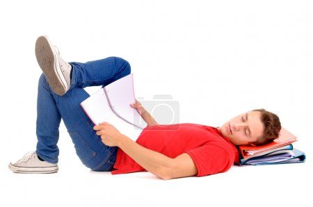 Photo pour Adolescent garçon à l'école - image libre de droit