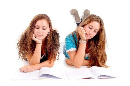 Photo for Teenage girls at school isolated in white - Royalty Free Image