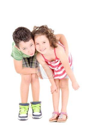 Foto de Niños aislados en fondo blanco - Imagen libre de derechos