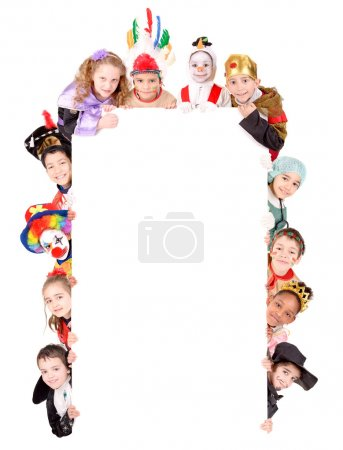 Photo for Little kids in costumes on halloween isolated in white - Royalty Free Image