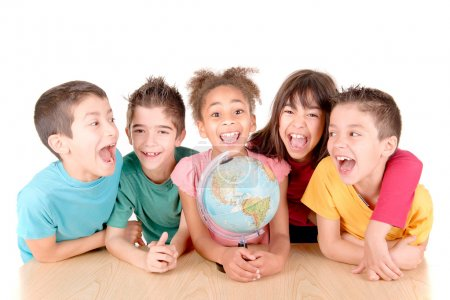 group of kids with globe at school