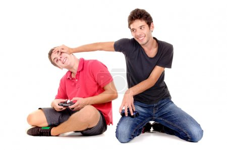 teenage boys posing