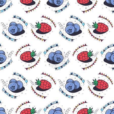 Photo pour Framboises et bleuets. Modèle sans couture sur un fond blanc. Illustration vectorielle mignonne. - image libre de droit