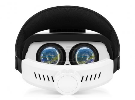 VR virtual reality headset back view on white background