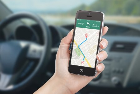 Smart phone with map gps navigation application on the screen