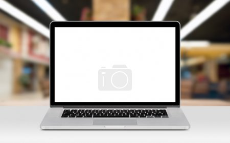 Front view of modern laptop mockup with white blan...