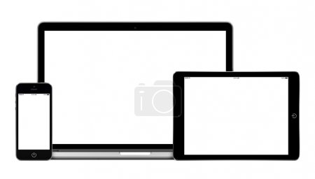 Photo for Mockup consisting of laptop, tablet pc in landscape orientation and mobile smartphone with blank screen. For adaptive design presentation. All gadgets in focus. Isolated on white background - Royalty Free Image