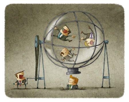 Photo pour Directeur rotation des hommes d'affaires dans la sphère transparente tout en choisissant l'un d'eux - image libre de droit