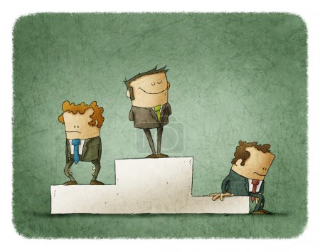 Photo for Three businessmen on pedestal. Winner on top - Royalty Free Image