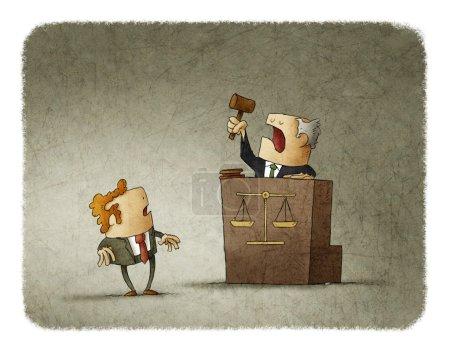 Photo pour Juge avec un marteau de cour prononçant une sentence à un homme choqué. Illustration . - image libre de droit