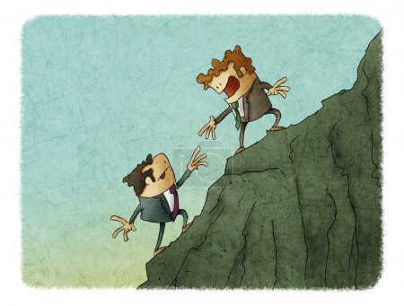 Photo for Illustration of man Bring hand up a friend to top the peak of mountain. Business success goal together. - Royalty Free Image